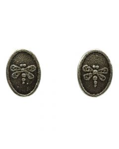 "Joel Pajarito - Santo Domingo Contemporary Silver Overlay Post Earrings with Dragonfly Design, 1"" x 0.75"""