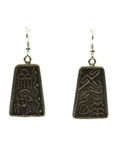 "Joel Pajarito - Kewa Contemporary Silver Overlay Hook Earrings with Native American Designs, 2"" x 0.75"" (J11778)"