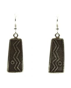 "Joel Pajarito - Santo Domingo Contemporary Silver Overlay Hook Earrings with Lightning Design, 2"" x 0.625"""