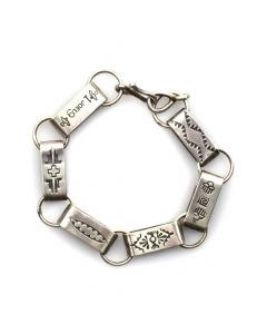 Joel Pajarito - Kewa Contemporary Silver Chain Linked Bracelet with Stamped Designs, size 8 (J11786)