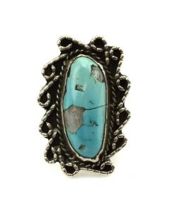 Navajo Turquoise with Quartz Inclusions and Silver Ring c. 1950s, size 9.75 (J11804)