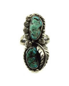 Navajo Turquoise and Silver Ring with Feather Design, size 5 (J11805)