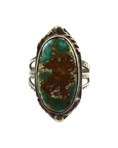 Navajo Turquoise and Silver Ring c. 1930-40s, size 5.5 (J11806)