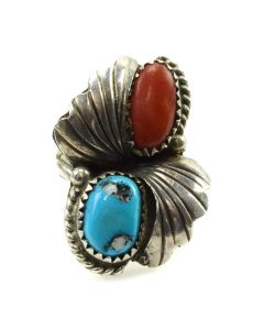Navajo Turquoise, Coral and Silver Ring c. 1960s, size 5 (J11808)