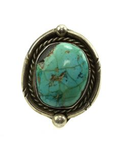 Navajo Turquoise and Silver Ring c. 1960s, size 6 (J11809)