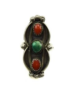 Navajo Coral, Turquoise and Silver Ring c. 1960s, size 8 (J11812)