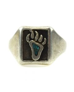 Navajo Turquoise and Silver Bear Paw Ring, size 12 (J11814)