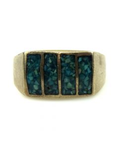 Navajo Turquoise Chip/Channel Inlay and Silver Ring c. 1970s, size 11.5 (J11815)