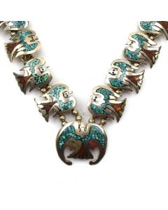 "Navajo Turquoise and Coral Chip Inlay and Silver Necklace with Peyote Bird Design c. 1970s, 26"" length (J11817)"