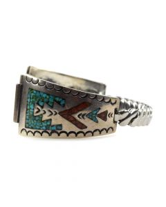 Navajo Turquoise and Coral Chip Inlay and Silver Watch-band with Stamped Designs c. 1970s (J11819)