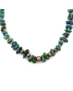 "Navajo Turquoise and Silver Beaded Necklace c. 1960s, 28"" length (J11823)"