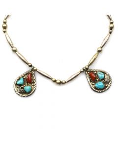 "Angelita Cheama (b. 1932) - Zuni Turquoise, Coral, and Silver Beaded Necklace with Feather Design c. 1970s, 14"" length (J11827)"