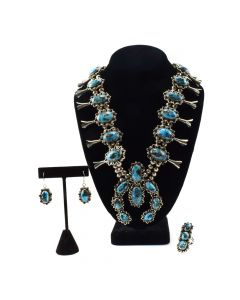 Navajo Persian Turquoise and Silver Squash Blossom Necklace, Ring, and Earring Set c. 1950-60s (J11828)