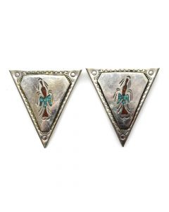"Navajo Turquoise and Coral Chip Inlay and Silver Collar Tabs c. 1970s, 2"" x 0.75"" (J11836)"