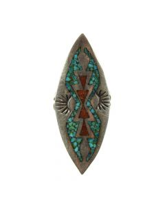 Possibly Joe Corbet - Navajo Turquoise and Coral Chip Inlay and Silver Ring c. 1970s, size 7.5 (J11838)
