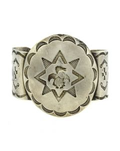 Navajo Silver Bracelet with Thunderbird and Stamped Designs c. 1930s, size 7 (J11842)