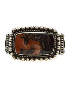 Navajo Petrified Wood and Silver Bracelet c. 1930-40s, size 6.25 (J11849)
