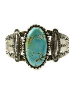 Awa Tsireh (1895-1955) - San Ildefonso Turquoise and Silver Bracelet with Stamped Designs c. 1920-30s, size 7 (J11857)