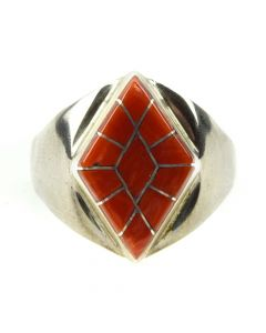 Chavez Elliot - Contemporary Zuni Coral and Silver Channel Inlay and Silver Ring, size 12 (J11859)