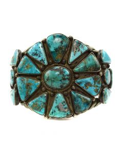 Navajo Morenci Turquoise and Silver Bracelet c. 1930s, size 7.25 (J11861)