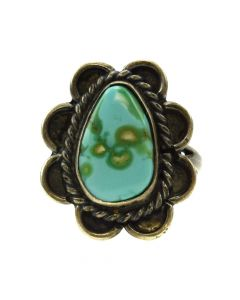 Navajo Blue Gem Turquoise and Silver Ring c. 1940-50s, size 5 (J11877)