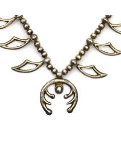 """Navajo Silver Squash Blossom Necklace c. 1940-50s, 24"""" length (J11880)"""