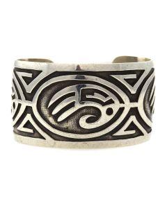 Hopi Silver Overlay Bracelet c. 1960-70s, size 6.5 (J11884)