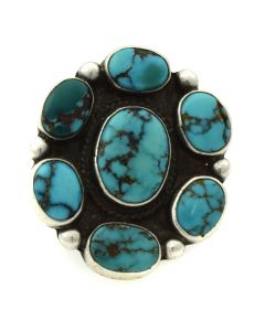 Navajo Turquoise and Silver Ring c. 1950s, size 4.75 (J11892)