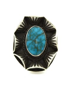 Navajo Lone Mountain Turquoise and Silver Ring c. 1950s, size 6.5 (J11896)