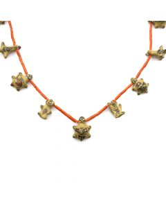 "Margaret (b. 1936) and Luther (1911-1987) Gutierrez - Santa Clara Pottery Necklace with Animal Figures and Beaded Coral c. 1950-60s, 28"" length (J11908)"