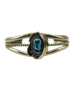 G. Watson - Navajo Turquoise and Silver Bracelet c. 1970s, size 6.5 (J11909)