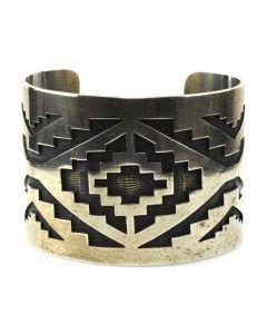 Sidney Sekakuku Jr. of Strap Clan - Hopi Silver Overlay Bracelet c. 1970s, size 7