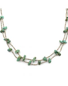 """Navajo Turquoise and Heishi Necklace c. 1970s, 30"""" length (J11924)"""