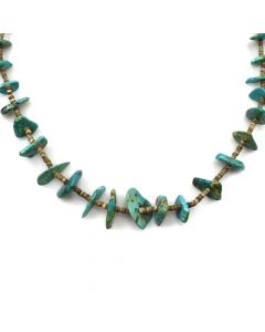 "Navajo Turquoise and Heishi Necklace c. 1950s, 31"" length (J11927)"