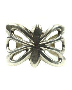 Navajo Silver Sandcast Bracelet c. 1950s, size 6 (J11962)