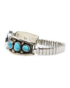 Navajo Turquoise and Silver Watchband c. 1950s, size 10 (J11967)