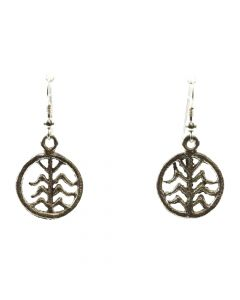 "Anthony Lovato - Kewa Contemporary Silver Hook Earrings with Cornstalk Design, 1.5"" x 0.75"" (J11975)"