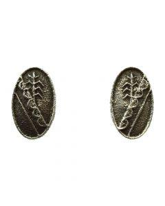"Cordell Pajarito - Kewa Contemporary Silver Post Earrings with Cornstalk Design, 1.25"" x 0.75"" (J11977)"