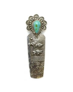"Anthony Lovato - Kewa Contemporary Turquoise and Silver Buffalo Spirit Pin/Pendant, 3.875"" x 1.5"" (J11978)"
