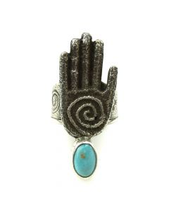 Cordell Pajarito - Kewa Contemporary Turquoise and Silver Ring with Hand Design, size 8 (J11979)