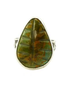 Joel Pajarito - Kewa Contemporary Pilot Mountain Turquoise and Silver Ring with Leaf Design, size 9 (J11982)