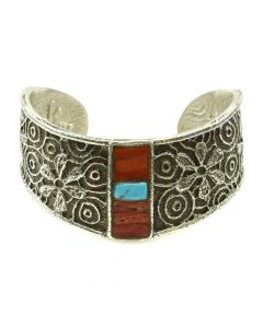 Cordell Pajarito - Kewa Contemporary Coral and Turquoise Inlay and Silver Bracelet with Flower Design, size 6.5 (J11985)
