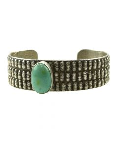 Joel Pajarito - Kewa Contemporary Turquoise and Silver Bracelet, size 6.75 (J11989)
