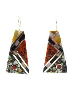 "Mary C. Lovato - Santo Domingo Contemporary Multi-Stone Chip Inlay and Silver Hook Earrings, 2"" x 2.125"" (J11996) 1"