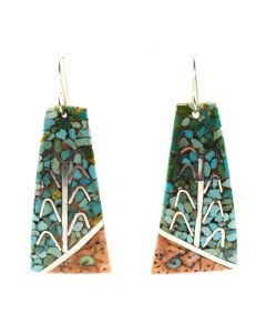 "Mary C. Lovato - Santo Domingo (Kewa) Contemporary Multi-Stone Chip Inlay and Silver Hook Earrings with Cornstalk Design, 2.5"" x 1.125"" (J11997)"