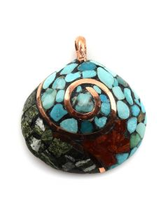"Lory Melton - Santo Domingo Contemporary Multi-Stone Inlay and Copper Shell Pendant, 1.75"" x 1.75"" (J12007)"