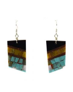 "Lory Melton - Santo Domingo Contemporary Multi-Stone Inlay Copper and Silver Hook Earrings, 2.875"" x 0.875"" (J12008)"