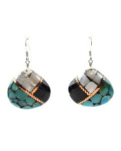 "Lory Melton - Santo Domingo Contemporary Multi-Stone Inlay Copper and Silver Hook Earrings, 1.75"" x 1.125"" (J12009)"