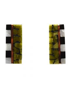 "Lory Melton - Santo Domingo Contemporary Multi-Stone Inlay Copper and Silver Post Earrings, 1.5"" x 0.625"" (J12010)"