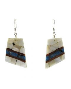"Lory Melton - Santo Domingo Contemporary Mother of Pearl, Denim Turquoise, and Copper Inlay Silver Hook Earrings, 1.875"" x 0.875"" (J12011)"